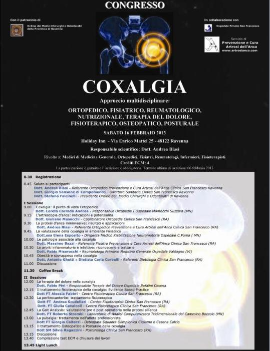 Locandina Coxalgia Congresso Dott. Andrea Blasi